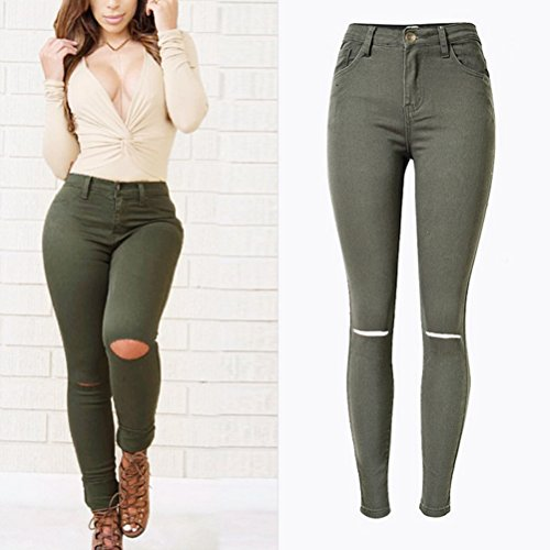 Zhhlinyuan Retro High Waisted Beggars Pants Break Knee Hole Stretch Street Pants Slim Fit Hermoso para mujeres Army Green