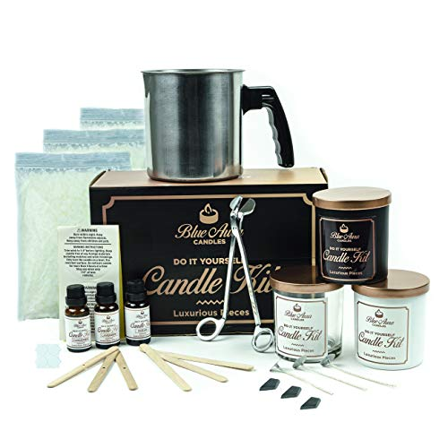 Blue Aurra DIY Candle Making Kit and Supplies- Scented Soy Candle Starter Kit with Fragrance Scents - Complete Candle Making kit for Beginners - 3 Unique Candles with Dye - Crafting Kit for Adults Candle Starter Kit Fragrance