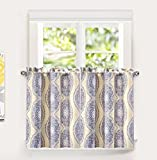 Cheap DriftAway Adrianne Thermal/Room Darkening Kitchen Tier Window Treatment, Set of Two, each 30″x36″+ 1″ header (Yellow/Gray)