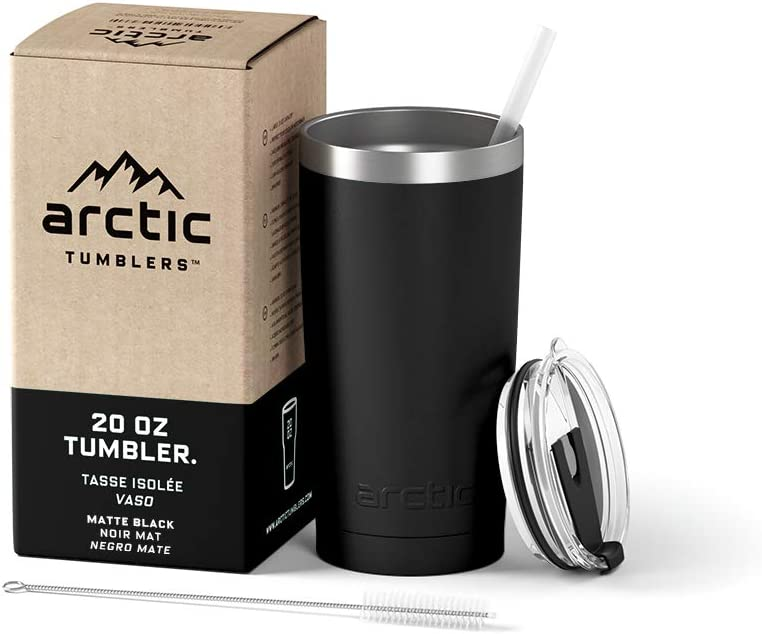 Arctic Tumblers Stainless Steel Camping & Travel Tumbler with Splash Proof Lid and Straw, Double Wall Vacuum Insulated, Premium Insulated Thermos - (Matte Black Powder Coat, 20 oz)