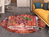 Animal Round Area Rug Carpet Ethnic Elephant Dancing Rocking the Dance Floor with its Meditating Moves Print Living Dinning Room and Bedroom Rugs Multicolor