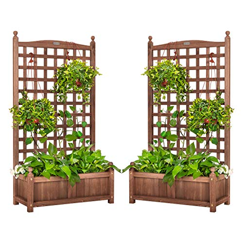 VIVOHOME 2PCS Wood Planter Raised Beds with Trellis, 48 Inch Height Free-Standing Planters for Garden Yard