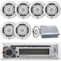 New Marine Dual AM425BT Marine Boat CD MP3 USB Receiver with Motion Control and Bluetooth Stereo Audio Player with 6 X Dual Electronics 6.5 Inch Marine Audio Spekaers System and 400 Watt Amrine Audio Amplifire + Enrock Marine Antenna - Complete Marine Outdoor Stereo Package (White)