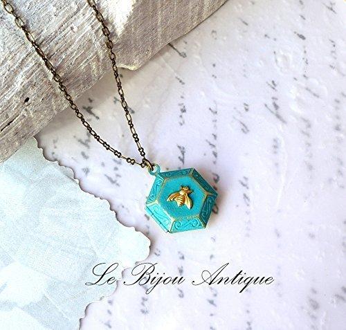 Bee locket necklace Honeycomb blue hexagonal antique gold tiny (Antique Gold Locket)
