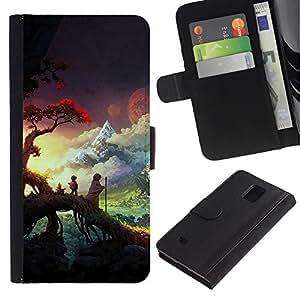 KLONGSHOP / Tirón de la caja Cartera de cuero con ranuras para tarjetas - Sunset Forest Nature Clouds - Samsung Galaxy Note 4 SM-N910
