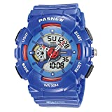 Kid's Digital Watches, Dual Time Sports Watch, Digital Watch Features Swim, Night-light, Waterproof Boys and Girls Watch (Blue)