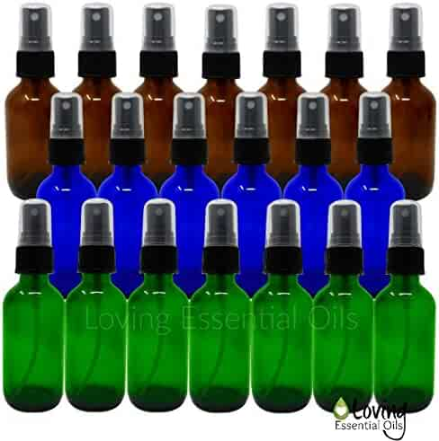 2 Oz Glass Spray Bottle Colored Set with Recipes Guide. 6 Blue, 7 Green, 7 Amber Fine Mist Atomizer. Empty Containers for Misting Aromatherapy, Essential Oils, Cleaning, Room Sprays. (20 Multi-color)