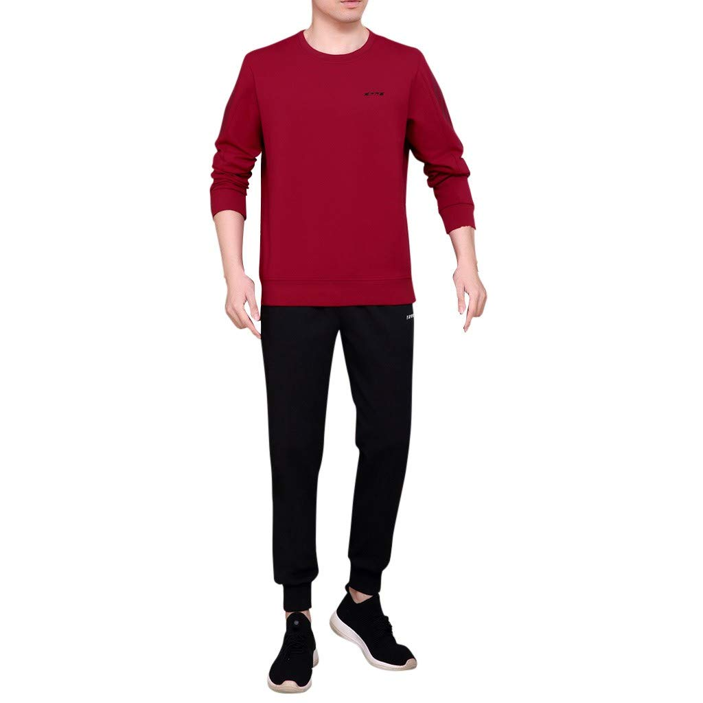 Men's 2 Piece Outfit Cotton Long Sleeve Sweatshirt Pullover Letter Print Stretch Lounge Jogging Sweatpants Set Fall Winter Casual Workout Running Activewear by Armfre Two-Piece-Outfit