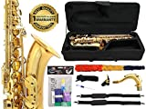 D'Luca 370L 370 Series Brass Bb Tenor Saxophone with F# key, Professional Case, Cleaning Kit, Gold