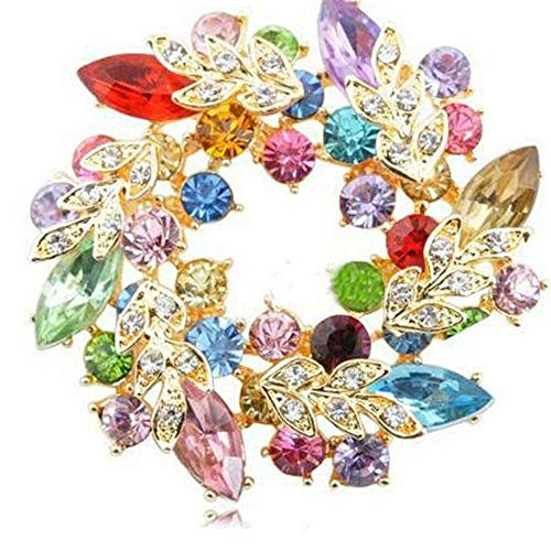 Clear Breastpin Broach Fashion Wedding Rhinestone Crystal Brooch Flower | color - Multicolor ()