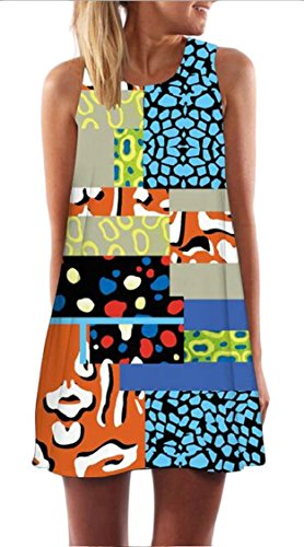 Jaycargogo Womens Numérique Sans Manches Casual Imprimé O-cou Robe T-shirt Loose 17
