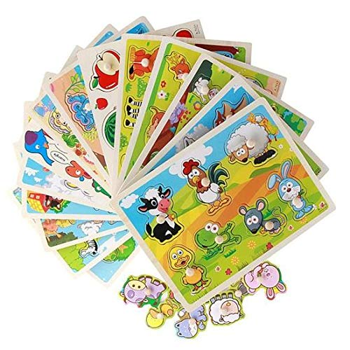 Chusea Deserve to Buy Jigsaw Puzzle Farm Animals Peg Puzzle Educational Toys Puzzles Toys for Kids Gift