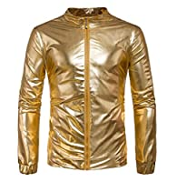 ECHOINE Men's Metallic Front Zip Bomber Jacket