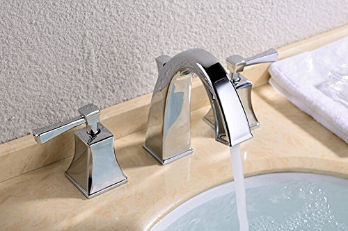 GOWE Widespread Bathroom Basin Vessel Sink Faucet Chrome Brass Basin Mixer Taps Dual Handle 2