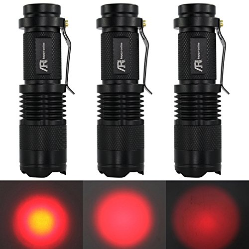 Flashlight Red Led Black Body (AR happy online 3 Pack AR-200 Zoomable 3 Mode Red Light Mini LED Flashlight Tactical Torch with Clip 300lm Adjustable Focus Light (Black Shell, Red Light))