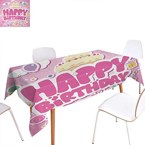 Kids Birthday Customized Tablecloth Cartoon Seem Party Image Balloons Boxes Clouds Cake Celebration Image Print Stain Resistant Wrinkle Tablecloth 54