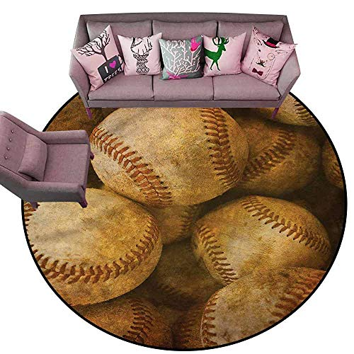 Tigers Small Baseball Rug - Polyester Non-Slip Doormat Rugs Colorful Vintage,Baseball American Sport Diameter 48