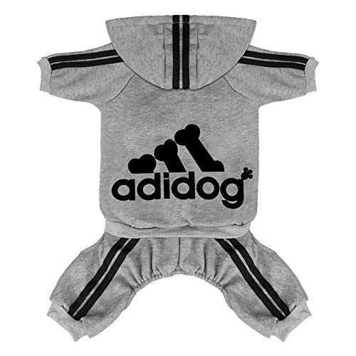 Scheppend Original Adidog Pet Clothes for Dog Cat Puppy Hoodies Coat Doggie Winter Sweatshirt Warm Sweater Dog Outfits, Grey Medium