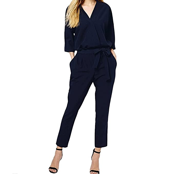 baf77816f162 Women s V Neck Jumpsuit Solid 3 4 Sleeve with Waist Belt and Pocket One  Piece