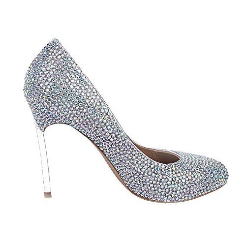 de silver sandalias artesanal mujeres altos tacones evening damas cuero de delgados novia party nightclub diamantes cristal de de zapatos party plata de bombas honor PwBgqX4