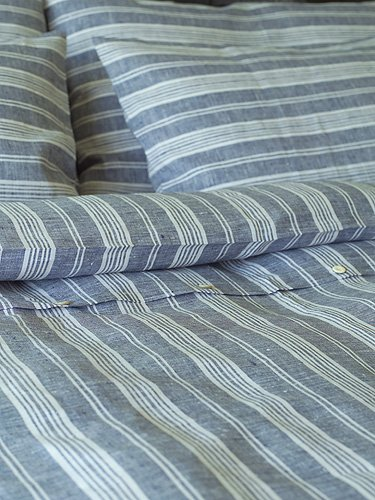 LinenMe Jazz Duvet Cover Navy Blue//White 86 by 86-Inch