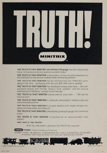 1970 Ad Minitrix N Gauge Model Train Set Trix Miniature - Original Print Ad