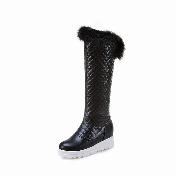 5353b9af71659 XDX Damenstiefel - Winter Warme Anti-Ski-Stiefel/Flache Lederstiefel ...