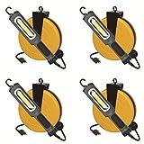 Case of 4 8 Watt Bright 900 Lumen COB LED Cord Reel Garage Shop Work Light