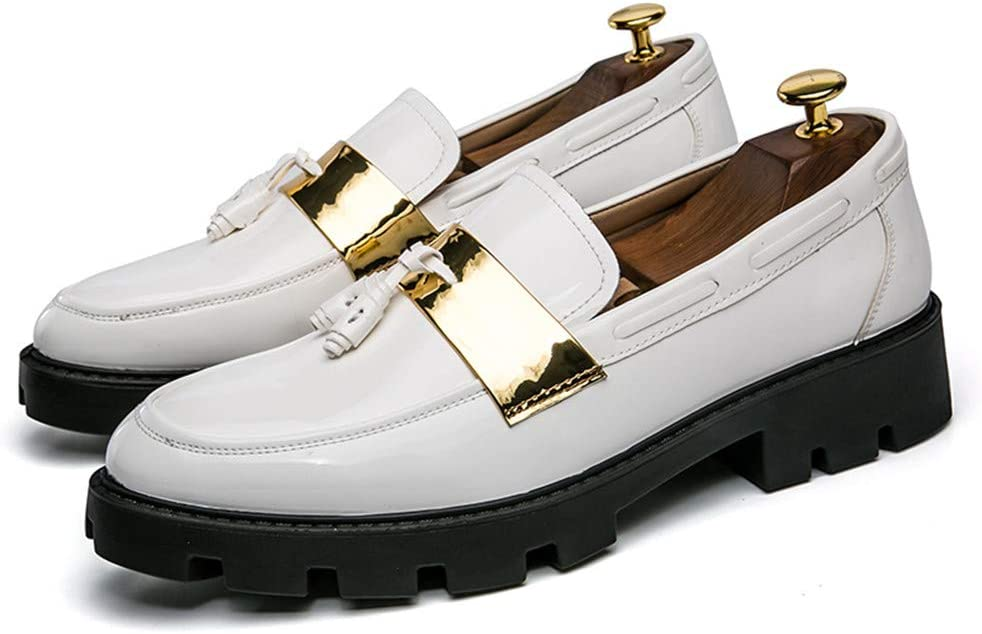 Color : White, Size : 6.5 D M Muyin Mens Oxfords Shoes Pinch Tassel Slip on Loafer US