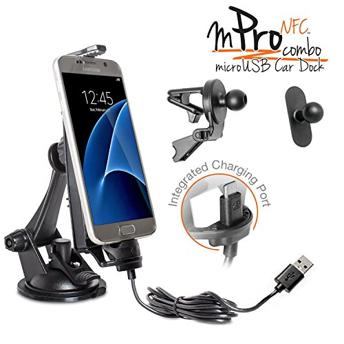 iBOLT mProNFC Combo Car Dock / Mount for Android phones- 3 mounts (suction cup mount, vent mount , and mini mount), and a 2m microUSB Cable- Compatible w/ Samsung Galaxy S6 / S7 by iBOLT