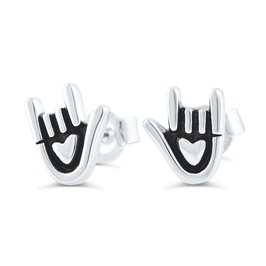Sterling Silver Sign Language Love Stud Earrings - 8mm
