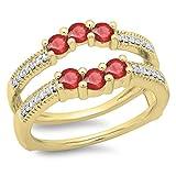 14K Yellow Gold Ruby & White Diamond Wedding Band 3 Stone Enhancer Guard Double Ring (Size 9.5)