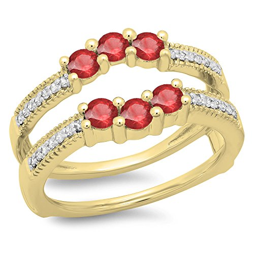 DazzlingRock Collection 14K Yellow Gold Ruby & White Diamond Wedding Band 3 Stone Enhancer Guard Double Ring (Size 9.5) - Ruby Bridal Ring Guard