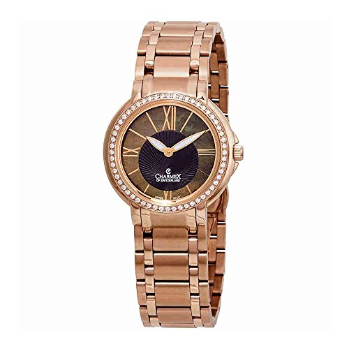 Charmex Malibu Crystal Brown Mother of Pearl Dial Ladies Watch 6422