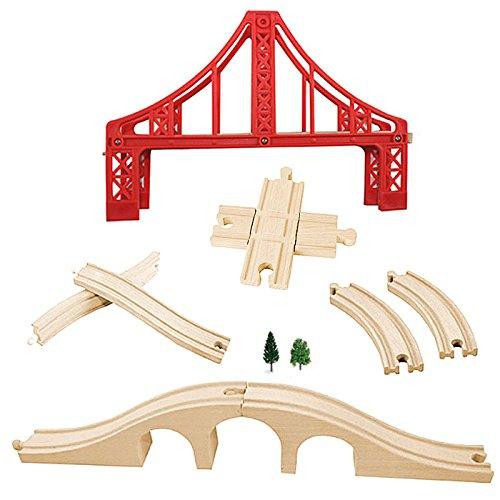 Wooden Train Track Set, OrgMemory Suspension Bridge, Viaduct Bridge, Curved Track Compatible with All Major Brands (Train Bridge)