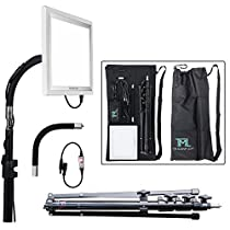 The Makeup Light Key Light Starter Kit, Nickel / White with Adjustable Gooseneck, Stand, and Shoulder Bag