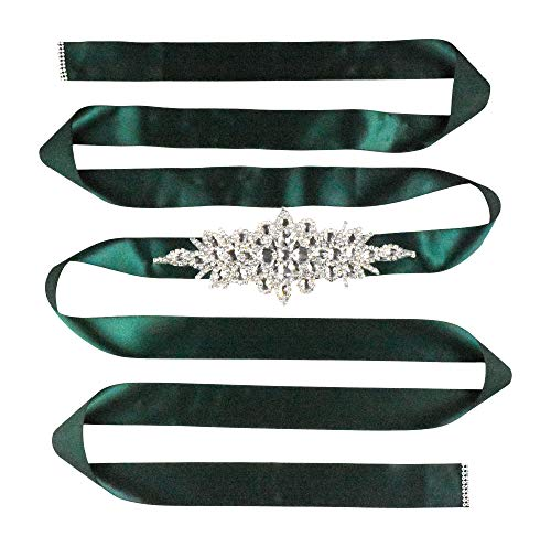 Mandala Crafts Bridal Sash Belt with Crystal Rhinestone Satin Ribbon for Wedding Gowns, Prom, Formal Dresses for Women (Plain Rhinestone, Dark Green)