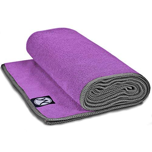 Youphoria 24-Inch-by-72-Inch Microfiber Yoga Towel, Purple Towel/Gray Stitching
