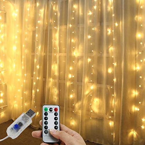 Juhefa Curtain Lights,USB Powered Fairy Lights String,IP64 Waterproof & 8 Modes Twinkle Lights for Parties, Bedroom Wedding,Valentines Day Wall Decorations (300 LEDs,9.8x9.8Ft, Warm White)