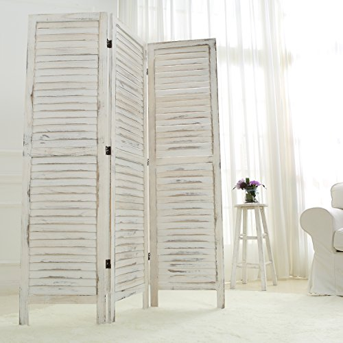 MyGift Whitewashed Wood 3 Panel Screen, Folding Louvered Room Divider by MyGift (Image #2)'
