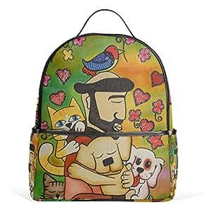 Mydaily Animals Cat Dog Oil Painting Backpack for Boys Girls School Bookbag