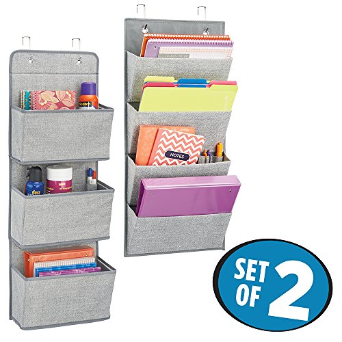 Gray Standard Stapler (mDesign Over the Door Fabric Office Supplies Storage Organizer for Notebooks, Planners, File Folders - Set of 2, Gray)