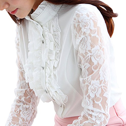 Vintage Shirts Stand-Up Collar Lotus Ruffle Lace Long Sleeve (M, BS14-White) (Lace Button Up Blouse)