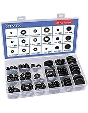 XTVTX 125 stuks Firewall met rubberen doorvoertule Gaten Plug set Zwarte elektrische geleider Pakking Ring Set voor plug- en kabelwandgat Elektrisch apparaat Automotive sanitair