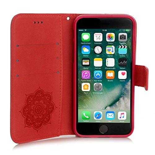 iPhone 8 / 7 Hülle, Arktis Traumfänger Mandala Etui Handyhülle - Rot