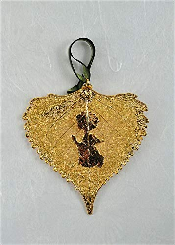 Prayer Angel Silhouette on Real Cottonwood Leaf in 24K Gold Ornament, Real Leaf Silhouette | Praying - Cottonwood Gold Leaf 24k