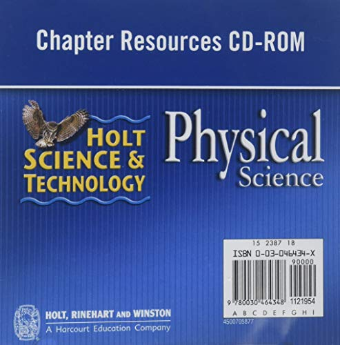 Holt Science & Technology: Chapter Resources CD-ROM Physical Science