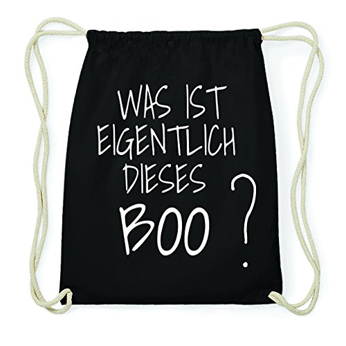JOllify BOO Hipster Turnbeutel Tasche Rucksack aus Baumwolle - Farbe: schwarz Design: Was ist eigentlich