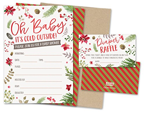 Christmas Baby Shower Invitations (Koko Paper Co Baby It's Cold Outside Winter Baby Shower Invitations and Diaper Raffle Tickets with Winter Florals. Set of 25 Fill In Style Cards, Kraft Envelopes, Raffle)