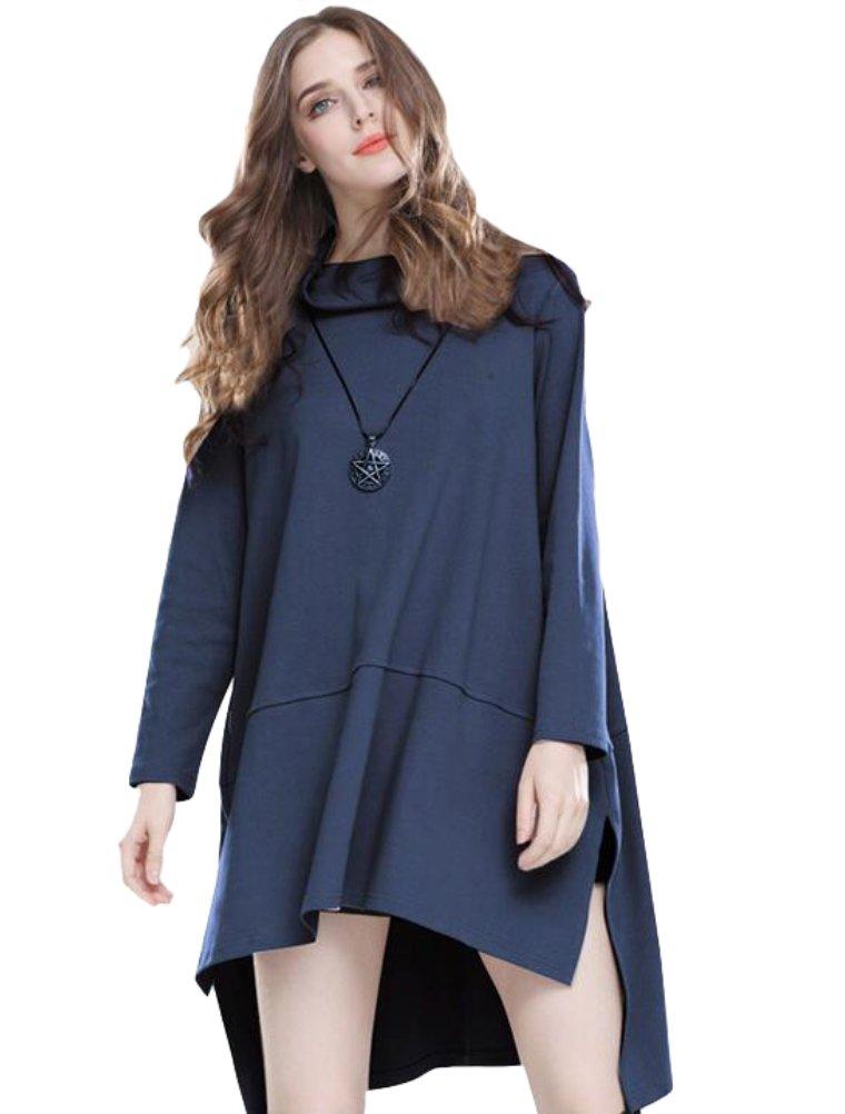 Mordenmiss Women's Cowl Neck Hi-low Hem Pullover Sweatshirt Tunic Dress XL Blue